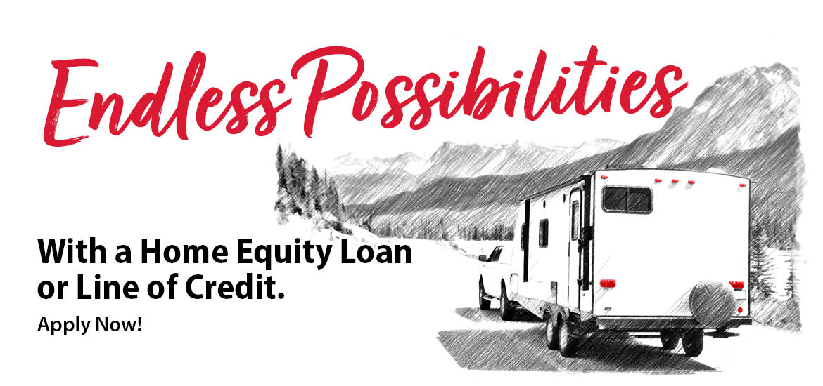 RV heading towards the mountains. Home equity loans and lines of credit available