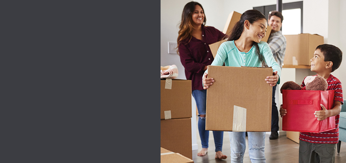 Family moves into their new purchased property.