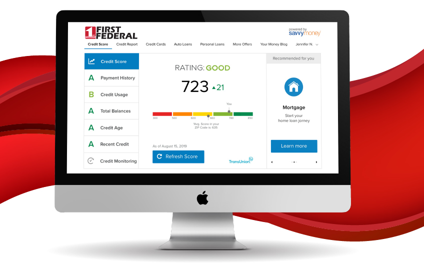 Desktop computer diplaying credit report.