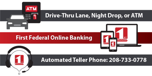 You can visit our drive-thrus, ATMs, online banking, or automated teller phone for many services.